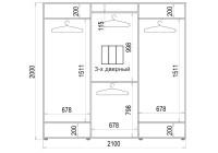 Шафа-купе 3 двері ФМП/ФМП/ФМП малюнок Ar346 Класік-2 210*200*45