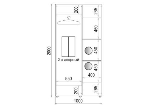 Шафа-купе 2 двері ДСП/ДСП Класік-1 100*200*45 колір Біле дерево